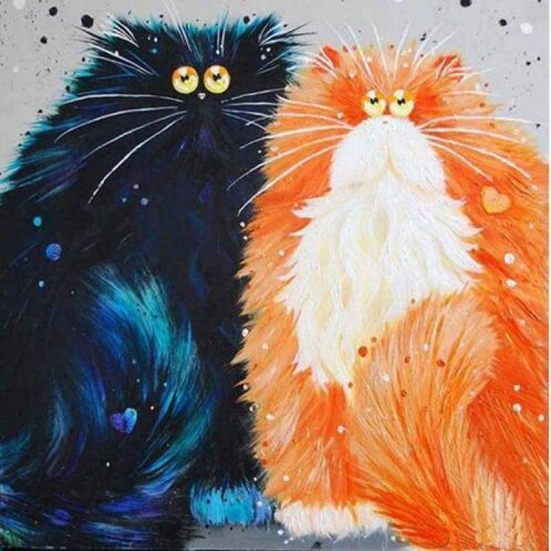 Full Drill Square Modern Art Funny Cats Full Drill - 5D DIY Diamond Painting Kits VM3742 - NEEDLEWORK KITS