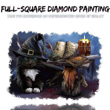 Load image into Gallery viewer, 2019 Hot Cool Halloween Magic Cat DIY 5D Rhinestone Diamond Embroidery Kits VM1202 - NEEDLEWORK KITS