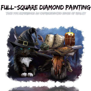2019 Hot Cool Halloween Magic Cat DIY 5D Rhinestone Diamond Embroidery Kits VM1202 - NEEDLEWORK KITS