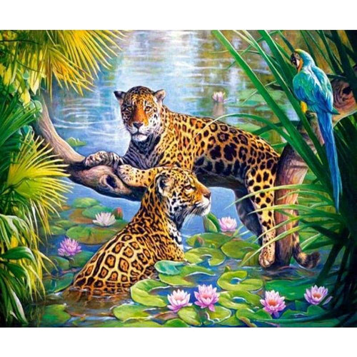 2019 Hot Sale Animal Portrait Leopard 5d Diy Diamond Painting Kits VM8062 - 2