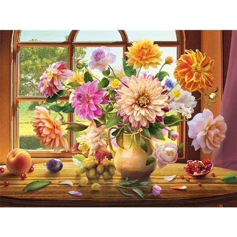 Hot Sale Colorful Flowers Diy Diamond Painting Cross Stitch VM1070 - NEEDLEWORK KITS