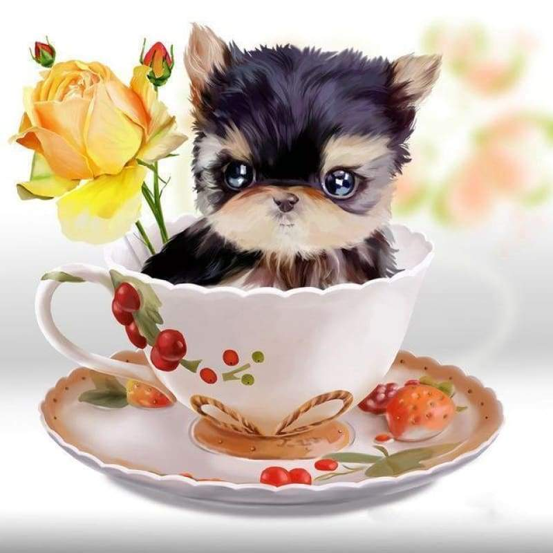 Hot Sale Cute Cat In Teacup Full Drill - 5D Diy Full Diamond Painting Cat Kits VM03003 - NEEDLEWORK KITS