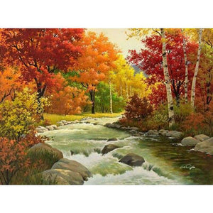 Hot Sale Fall The Forest Landscape Diy Full Drill - 5D Diamond Art Painting VM1168 - NEEDLEWORK KITS