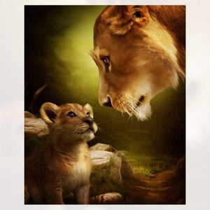 Hot Sale Family Lions Portrait Full Drill - 5D Diy Diamond Painting Kits VM7797 - NEEDLEWORK KITS