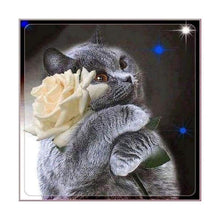 Load image into Gallery viewer, Hot Sale Grey Cat Flower Diy Full Drill - 5D Cross Stitch Diamond Painting Kits VM0031 - NEEDLEWORK KITS
