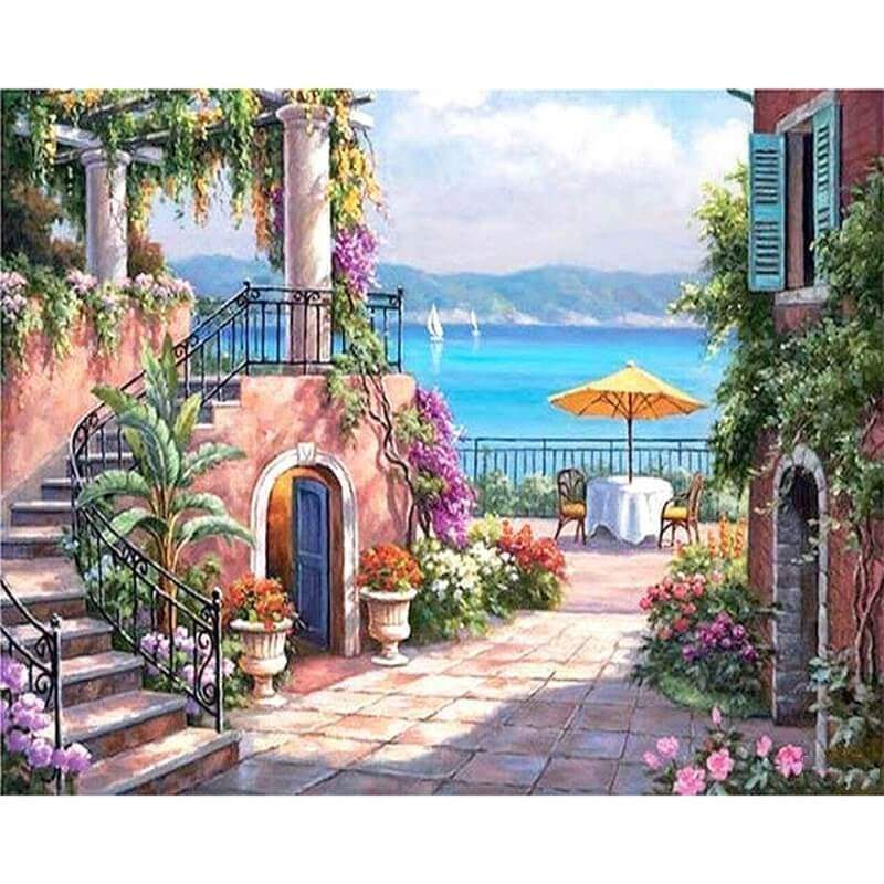 Hot Sale Landscape Seaside Town Diy Full Drill - 5D Mosaic Diamond Painting Kits VM5018 - NEEDLEWORK KITS