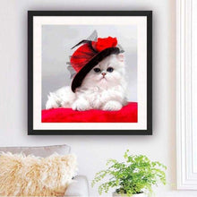 Load image into Gallery viewer, Hot Sale lovely White Cat With Hat Full Drill - 5D Diy Diamond Painting Cross Stitch Kits VM0053 - NEEDLEWORK KITS
