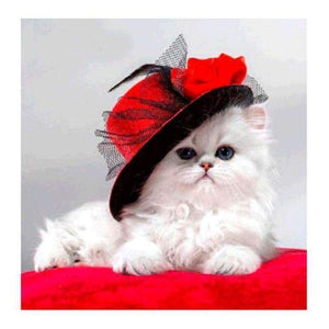 Hot Sale lovely White Cat With Hat Full Drill - 5D Diy Diamond Painting Cross Stitch Kits VM0053 - NEEDLEWORK KITS
