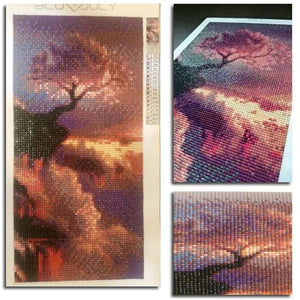 2019 Hot Sale Pink Trees On Top Of The Mountain Diamond Cross Stitch Kits VM1053 - NEEDLEWORK KITS
