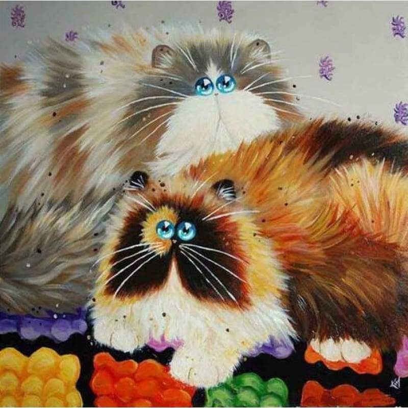 Hot Sale Popular Funny Cat Full Drill - 5D DIY Diamond Painting Kits VM7418 - NEEDLEWORK KITS