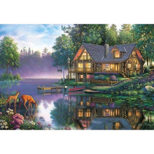 Load image into Gallery viewer, Hot Sale Rhinestone Painting Landscape Cottage Lake Full Drill - 5D Diy Diamond Painting Kits Kits VM4167 - NEEDLEWORK KITS