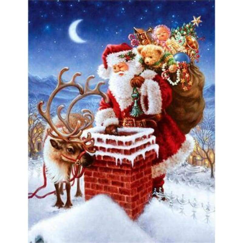 2019 Hot Sale Santa Christmas 5D Diy Diamond Mosaic Cross Stitch Kits VM7574 - NEEDLEWORK KITS