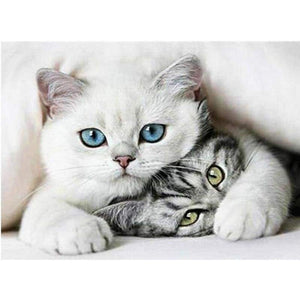 Hot Sale Two Cats Embroidery Cross Stitch Full Drill - 5D Diy Diamond Painting Kits VM0005 - NEEDLEWORK KITS