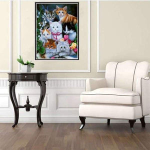 Hot Sale Wall Decor Animal Cute Cats Full Drill - 5D Diy Painting By Crystal Kits VM7455 - NEEDLEWORK KITS