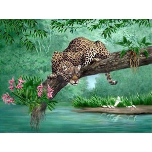 2019 Hot Sale Wall Decoration Animal Leopard Portrait 5d Cross Stitch Kits VM8408 - NEEDLEWORK KITS