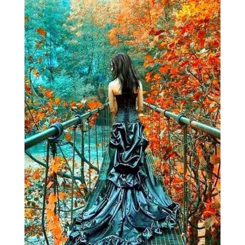 Landscape Autumn Nature Girl Full Drill - 5D Crystal Diamond Painting Kits VM20029 - NEEDLEWORK KITS