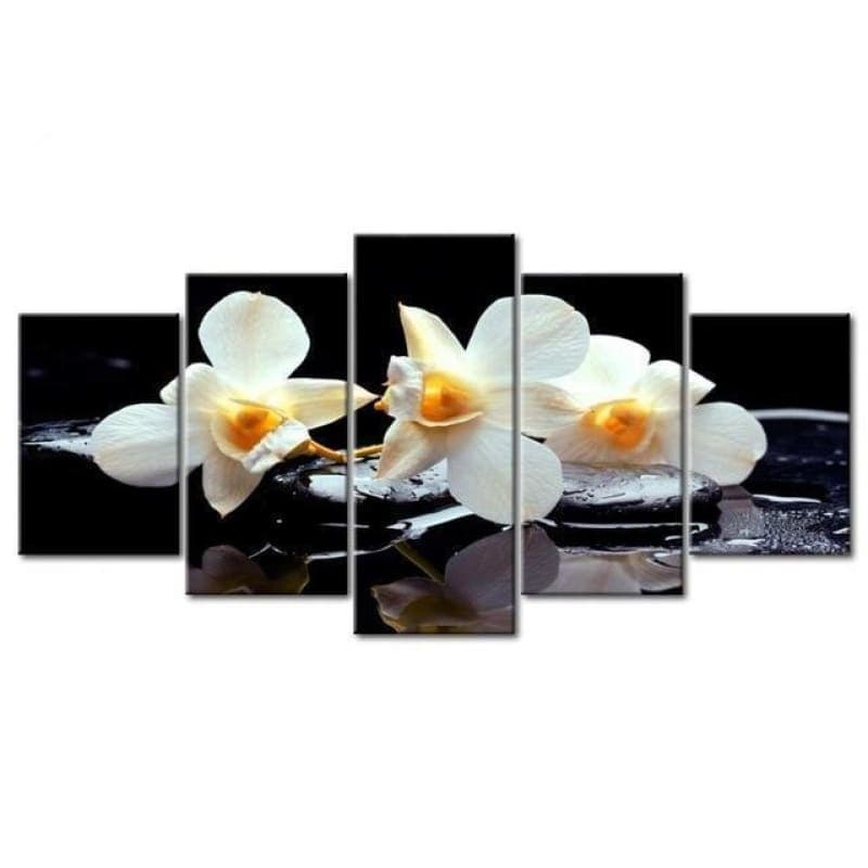 Large Size Multi Panel Home Decor White Flower Full Drill - 5D Diy Embroidery Painting Kits VM7925 - NEEDLEWORK KITS