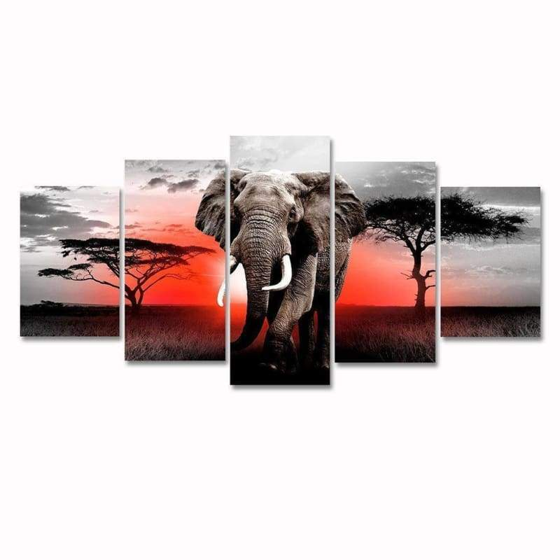 Large Size Multi Panel Sunset Elephant Full Drill - 5D DIY Diamond Painting Kits VM8192 - NEEDLEWORK KITS