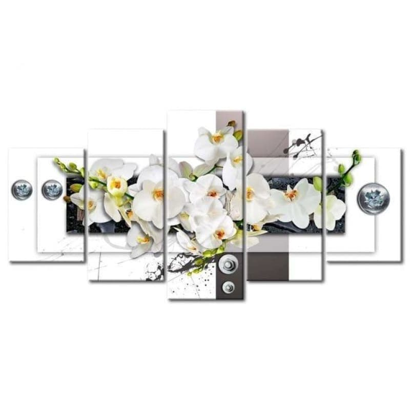 Large Size Multi Panel White Flower Full Drill - 5D Diy Diamond Painting Kits VM7916 - NEEDLEWORK KITS