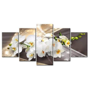 Large Size Multi Panel White Flower Full Drill - 5D Diy Diamond Painting Kits VM7919 - NEEDLEWORK KITS