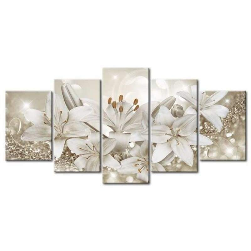 Large Size Multi Panel White Flower Full Drill - 5D Diy Embroidery Painting Kits VM7921 - NEEDLEWORK KITS