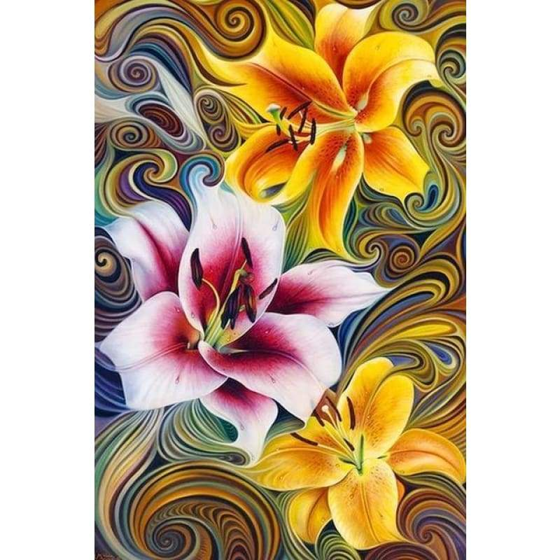 Modern Art Colorful Abstract Flower Pattern Full Drill - 5D Diy Diamond Painting Kits VM71861 - NEEDLEWORK KITS