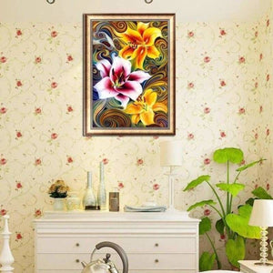Modern Art Colorful Abstract Flower Pattern Full Drill - 5D Diy Diamond Painting Kits VM71861