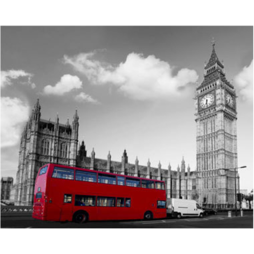 5D DIY Diamond Painting Kits Grey Landscape Red Bus - 3