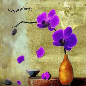 Modern Art Popular Violet Flower Full Drill - 5D Diy Diamond Painting Kits VM41204 - NEEDLEWORK KITS
