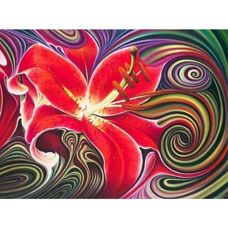 Modern Art Red Abstract Flower Pattern Full Drill - 5D Diy Diamond Painting Kits VM7863 - NEEDLEWORK KITS