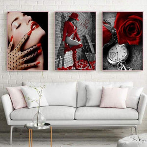 2019 Modern Art Red Series Picture Diy 5d Diamond Embroidery Cross Stitch Kits VM81912 - NEEDLEWORK KITS