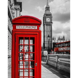 Modern Art Red Telephone Booth Full Drill - 5D Diy Diamond Painting Street VM3317 - NEEDLEWORK KITS