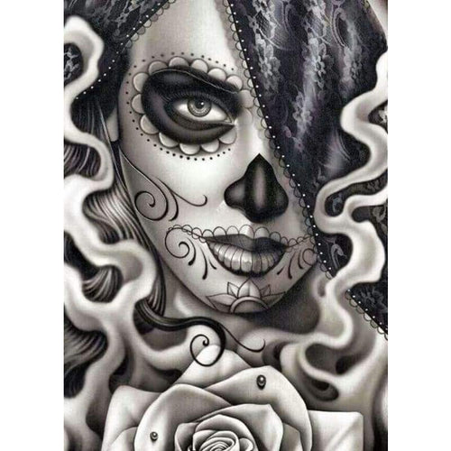 Modern Art Skull Girl Full Drill - 5D Diy Diamond Painting Kits VM8643 - NEEDLEWORK KITS