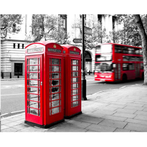 Modern Art Street Red Phone Booth Full Drill - 5D Diy Diamond Painting Kits VM9204 - NEEDLEWORK KITS