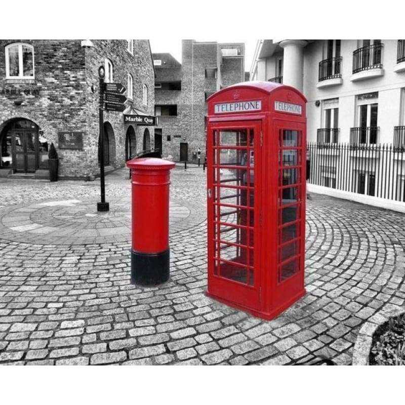 Modern Art Street Red Telephone Booth Full Drill - 5D Diy Diamond Painting Street VM3314 - NEEDLEWORK KITS