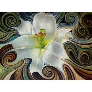 Modern Art White Abstract Flower Pattern Full Drill - 5D Diy Diamond Painting Kits VM79864 - NEEDLEWORK KITS