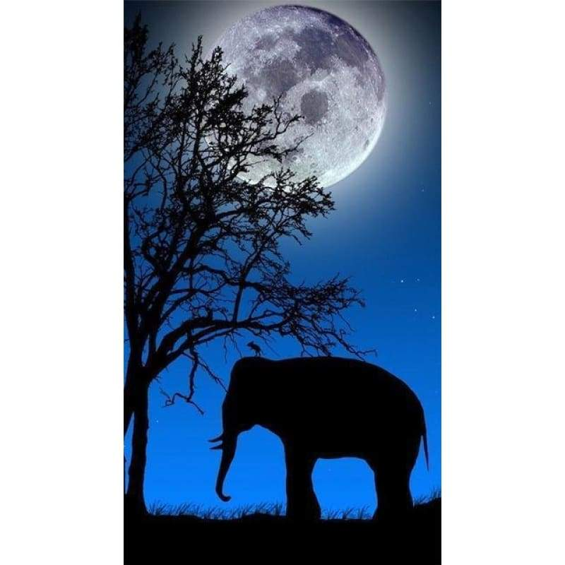 New Dream Night Sky Moon Elephant Full Drill - 5D Diy Diamond Painting Kits VM9057 - NEEDLEWORK KITS