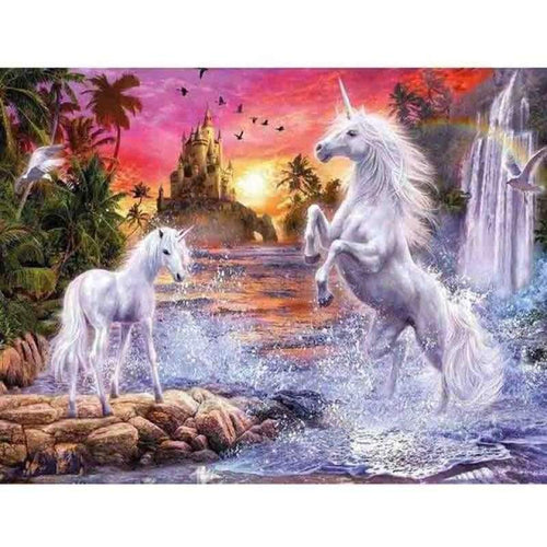 2019 New Dream Unicorn Castle 5d Diy Diamond Painting Cross Stitch Kits VM3650 - 3