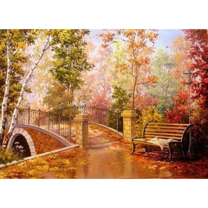 New Hot Sale Autumn Forest Bridge Full Drill - 5D Diy Diamond Painting Kits VM9223 - NEEDLEWORK KITS