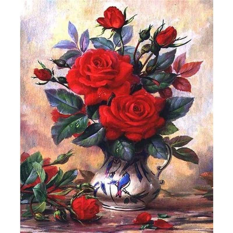 2019 New Hot Sale Beautiful Red Flower Diy 5d Diamond VM1992 - NEEDLEWORK KITS