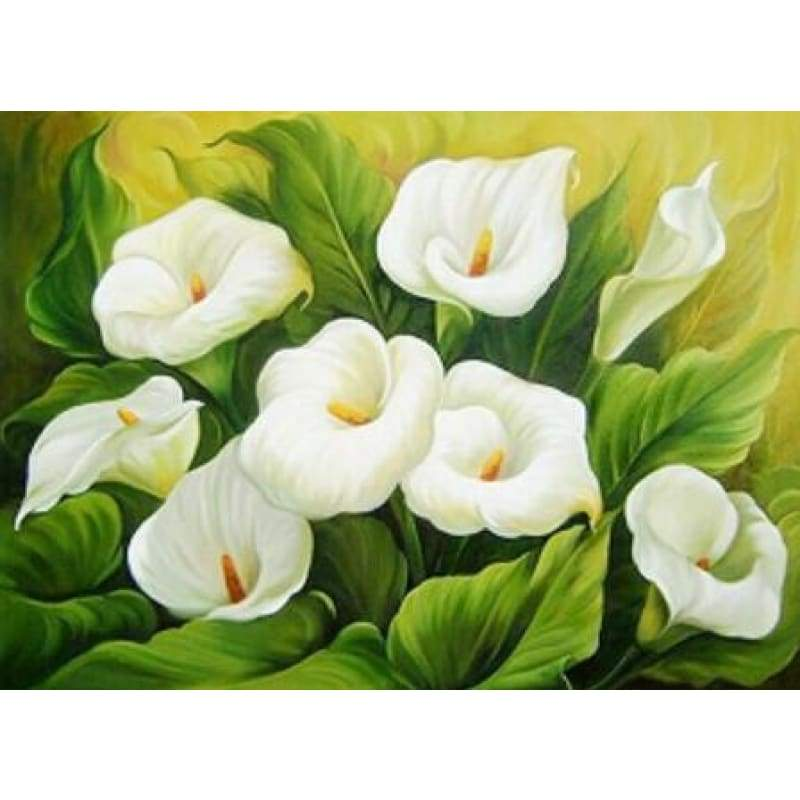 New Hot Sale Beautiful White Flower Full Drill - 5D Diy Diamond Painting Flower Kits VM3018 - NEEDLEWORK KITS