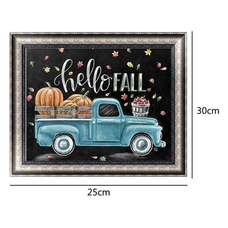 New Hot Sale Blue Truck Full Drill - 5D DIY Diamond Painting Blackboard Kits VM90221 - NEEDLEWORK KITS