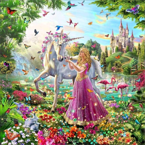 New Hot Sale Castle Unicorn Full Drill - 5D Diamond Painting Cross Stitch Kits VM8307 - NEEDLEWORK KITS