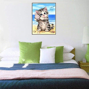 New Hot Sale Cute Kitten And Conch On Beach Diy Full Drill - 5D Cross Stitch Rhinestone Painting VM01199 - NEEDLEWORK KITS