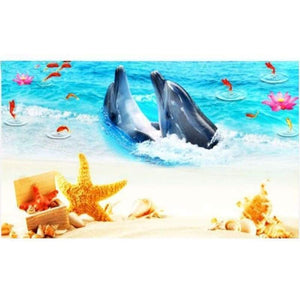 New Hot Sale Decor Animal Dolphin Full Drill - 5D Diy Diamond Painting Kits VM8580 - NEEDLEWORK KITS