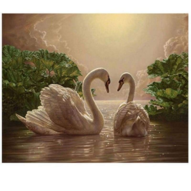 New Hot Sale Elegant White Swans Lover Full Drill - 5D Diy Diamond Painting Swans Kits VM3029 - NEEDLEWORK KITS