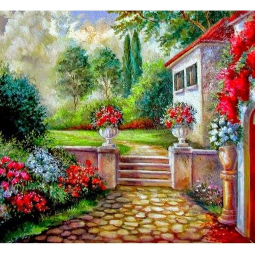 2019 New Hot Sale Garden Door Picture Diy 5d Diamond Painting Set VM20096