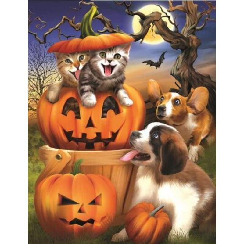 2019 New Hot Sale Halloween Cat Dog Pumpkin 5d Diy Rhinestone Stitch Kits VM4083 - NEEDLEWORK KITS
