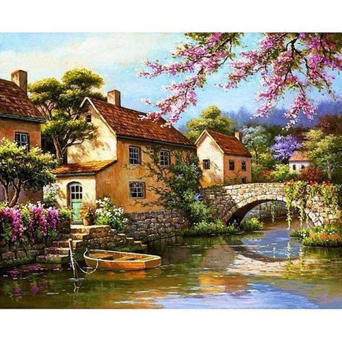 New Hot Sale Landscape Cottage Full Drill - 5D Diy Diamond Painting Cross Stitch VM08586 - NEEDLEWORK KITS