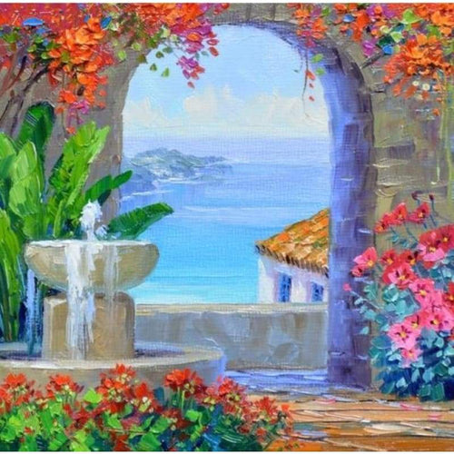 2019 New Hot Sale Landscape Garden Door Diy 5d Diamond Painting Kits VM39097